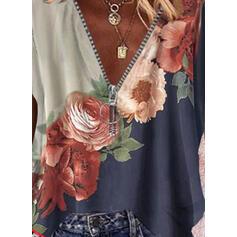 Impresión Bloque de color Floral Cuello en V Manga corta Casual Blusas