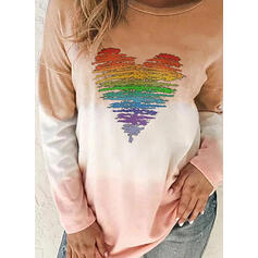Print Tie Dye Round Neck Long Sleeves Casual T-shirts