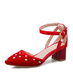Femmes Suède Talon bottier Sandales Escarpins avec Cristal chaussures