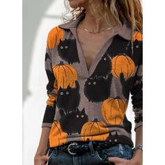 Print Lapel Long Sleeves Casual Halloween Blouses
