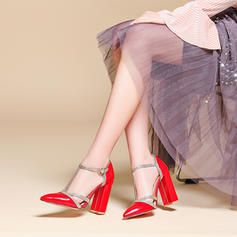 Women's Patent Leather Chunky Heel Sandals Pumps With Lace-up shoes