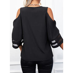 Print Heart Cold Shoulder Flare Sleeve 3/4 Sleeves Casual Blouses