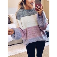 Color Block Crew Neck Casual Sweaters