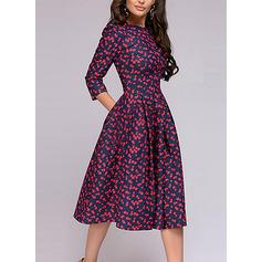 Minta 3/4-es ujjú A-vonal Térdig érő Vintage φορέματα