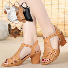 Women's Real Leather Chunky Heel Pumps Closed Toe With Others shoes