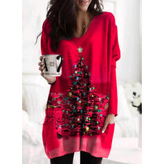 Print Pockets Round Neck Long Sleeves Christmas Sweatshirt