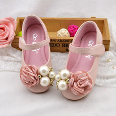 Girl's Leatherette Flat Heel Round Toe Mary Jane Flower Girl Shoes With Imitation Pearl Satin Flower Velcro