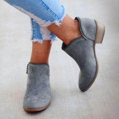 Women's PU Low Heel Pumps Closed Toe Boots shoes