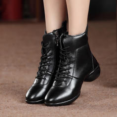 Women's Dance Boots Sneakers Leatherette Real Leather With Lace-up Modern