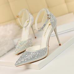 Women's PU Stiletto Heel Pumps With Rhinestone Sparkling Glitter Buckle shoes