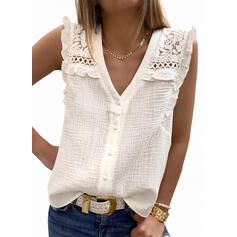 Solid Lace V-Neck Sleeveless Button Up Casual Tank Tops