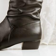 De mujer Cuero Tacón ancho Botas a la rodilla con Material Block zapatos