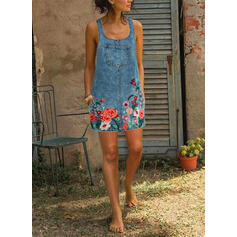 Print/Floral Sleeveless Shift Above Knee Casual/Denim Tank Dresses