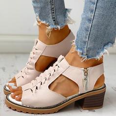 Kvinnor PU Tjockt Häl Peep Toe med Zipper skor
