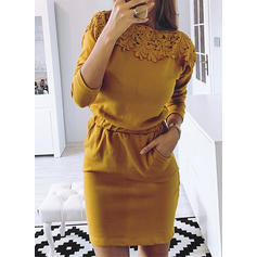 Lace/Solid Long Sleeves Bodycon Above Knee Casual Dresses