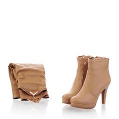 Női PU Tűsarok Magassarkú Emelvény Térdig érő csizmák -Val Cipzár cipő