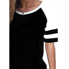 Color Block round Neck Kortermer Bluser