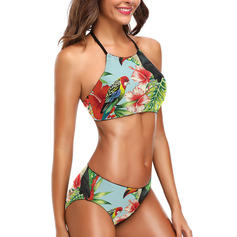 Floral Leaves Halter Cute Bikinis Swimsuits
