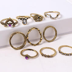 Fashionable Alloy Rhinestones With Rhinestone Women's Fashion Rings (Set of 10 pairs)