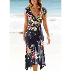 Nadrukowana/Kwiatowy Krótkie rękawy Pokrowiec Casual/Wakacyjna Midi Sukienki