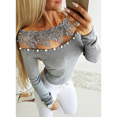 Lace Off the Shoulder Long Sleeves Casual Sexy Knit Blouses