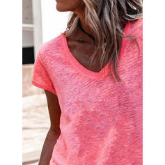 Kiinteä V-kaula Lyhyet hihat T-paidat