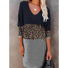 Color-block/Leopard Lange ærmer Shift Over knæet Casual T-shirt Kjoler