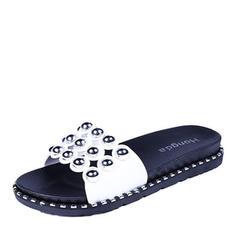 Women's Leatherette Flat Heel Sandals Flats Peep Toe Slingbacks Slippers With Rivet shoes