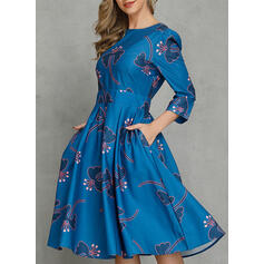 Print Long Sleeves A-line Knee Length Casual/Party/Elegant Dresses
