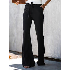 Kapsy Shirred Vázanka Dlouho Elegantní Sexy Pevný Prostý Kalhoty