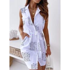 Print Sleeveless Sheath Above Knee Casual Shirt Dresses