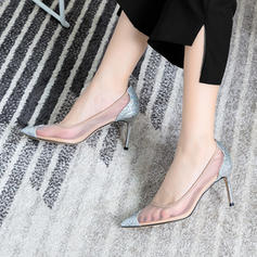 Women's Sparkling Glitter Mesh Stiletto Heel Pumps Closed Toe With Sequin shoes