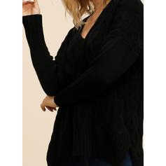 Einfarbig Zopfmuster V-Ausschnitt Pullover