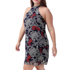 Print/Floral Sleeveless Sheath Above Knee Casual/Plus Size Dresses