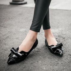 Donna PU Senza tacco Ballerine Punta chiusa con Bowknot scarpe
