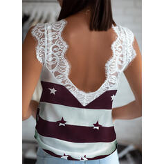 Color Block Lace Print V-Neck Sleeveless Tank Tops