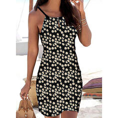 Print/Floral Sleeveless Bodycon Above Knee Casual/Vacation Slip Dresses