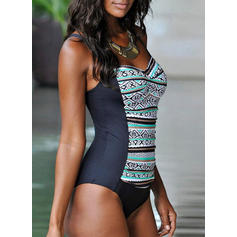 Stripe Strap V-Neck Elegant Attractive One-piece Swimsuits