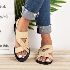 De mujer PU Tacón plano Sandalias Encaje con Agujereado zapatos