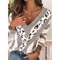 Print Color Block Cable-knit V-Neck Sweaters