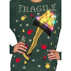 Жіночі Поліестер Друк Лист Смішні светри для різдва