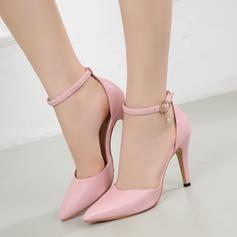 De mujer Piel brillante Tacón stilettos Sandalias Cerrados con Rhinestone Hebilla zapatos
