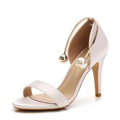 Women's Satin Stiletto Heel Sandals Pumps Peep Toe With Imitation Pearl shoes
