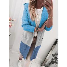 Kleurblok Pocket Met capuchon Casual Lang Vest