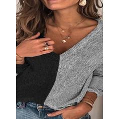 Χρωματικό μπλοκ V-λαιμός Μακρυμάνικο Καθημερινό Блузки