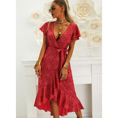 Print Short Sleeves A-line Asymmetrical Casual/Vacation Wrap/Skater Dresses