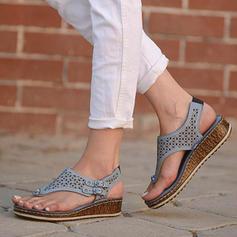 Mulheres Couro Plataforma Sandálias Calços Peep toe com Fivela Oca-out sapatos