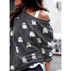 Print Halloween One Shoulder Lange ærmer Sweatshirts