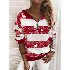 Tierdruck V-Ausschnitt Lange Ärmel Weihnachts-Sweatshirt