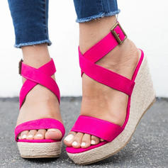De mujer PU Tipo de tacón Sandalias Plataforma Cuñas Encaje con Hebilla zapatos